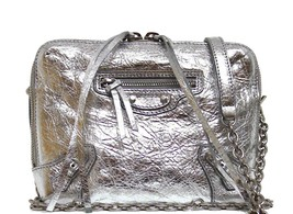 New Balenciaga XS Classic Metallic Reporter Arena Leather Crossbody On C... - $978.04