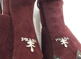 New PRADA Size 9 Burgundy Suede Open Toe Ankle Strap Heels Sandals Shoes 40 image 10