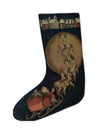 "Vintage Woven Tapestry Christmas Stocking Panel Piece 13"" x 18"" Santa Sl... - $14.80"