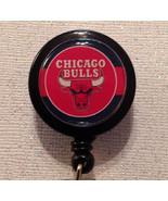 Nba Chicago Bulls Badge Reel Id Holder Red Black Alligator Clip Handmade... - $8.99