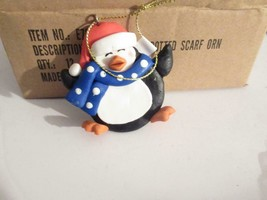 CHRISTMAS ORNAMENTS WHOLESALE- E70565 PENGUIN WBLUE DOTTED SCARF-12 - NE... - $9.75