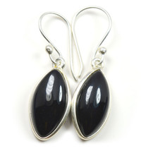 Natural Black Onyx Earring Marquise Shape Sterling Silver  UEFO4-221 - $29.60