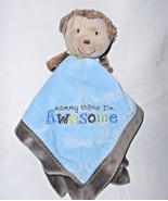 Carters Monkey Mommy Thinks I'm Awesome Baby Security Blanket Blue Lovey - $21.66