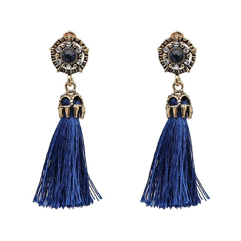Ntage design colorful tassel statement earring 2017 new fashion rope fringe earrings party girls