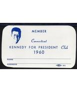 JOHN F. KENNEDY CLUB MEMBERSHIP CARD. Connecticut version. - $14.36