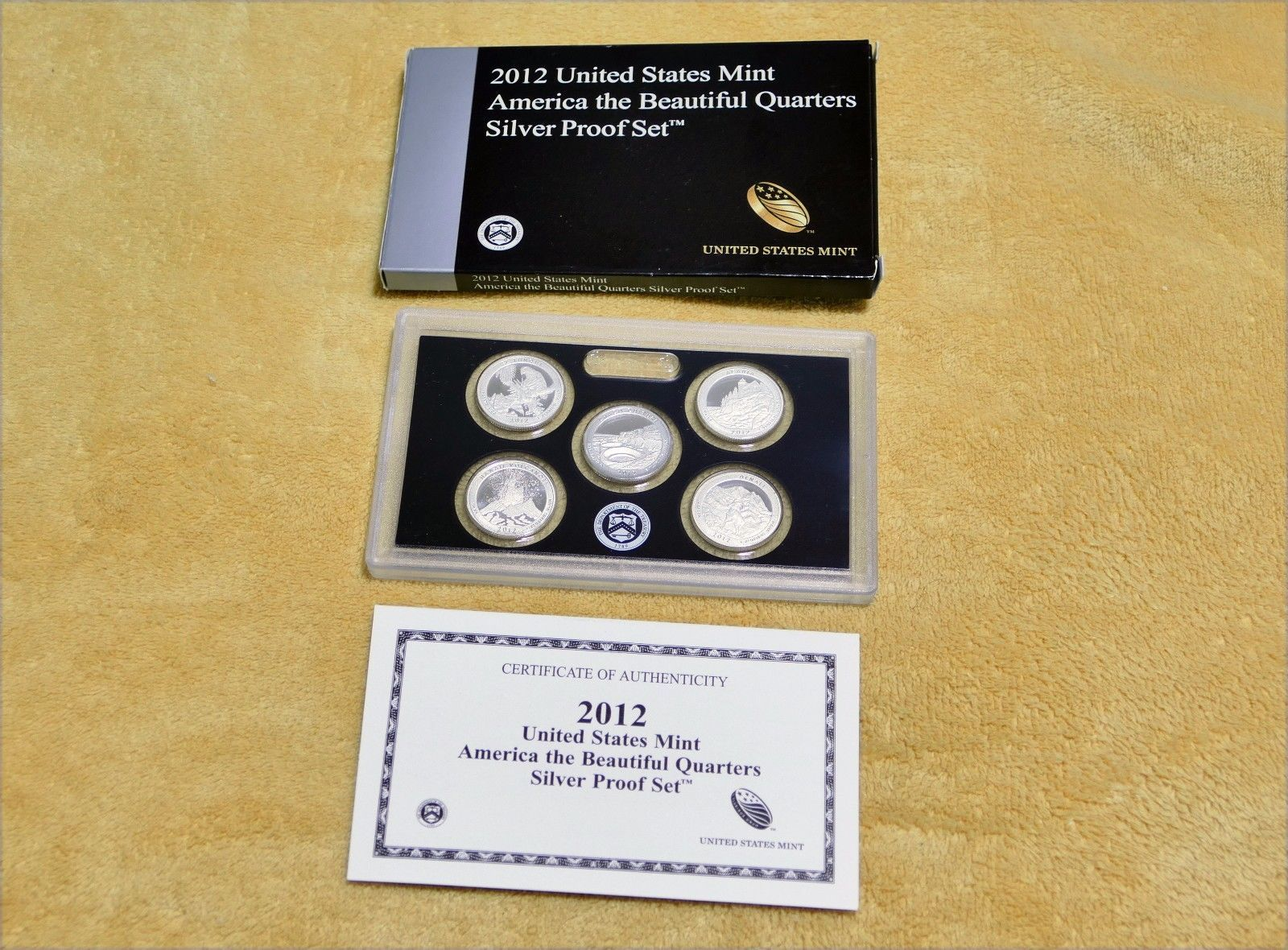 2012 U.S. MINT AMERICA THE BEAUTIFUL 5 COIN SILVER PROOF QUARTER SET W/COA