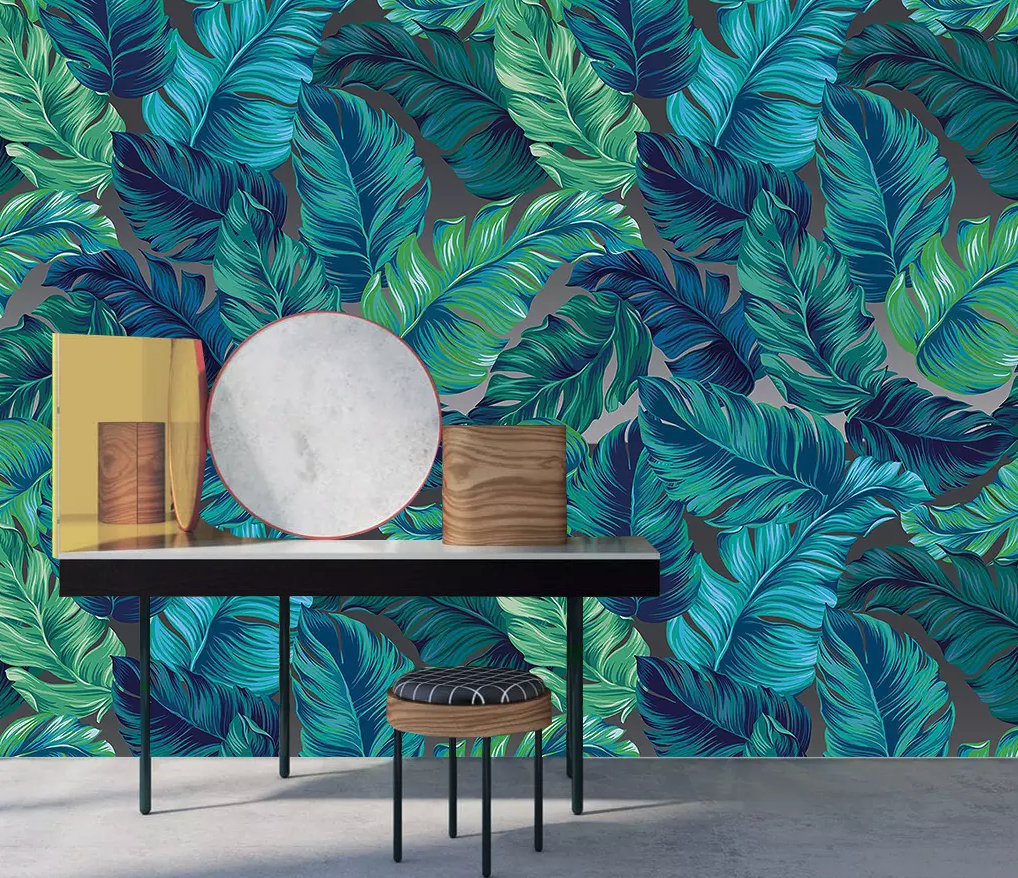 Floral Wall Murals, Fresh Green Tropical,Exotic flowers Wall Decor Printed Photo