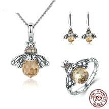925 Sterling Silver Jewelry Set Lovely Honey Bee Jewelry Set - $47.99