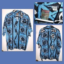 PINEAPPLE CONNECTION Blue Black White Hawaii Style Button Front Shirt XL... - $15.83