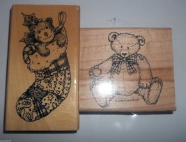 Lot of 2 Teddy Bear Rubber Stamps Stocking Mounted Stampin' Up Large Stamps - $19.99
