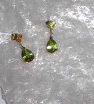 10K YELLOW GOLD GREEN PERIDOT PEAR & DIAMOND DANGLE EARRINGS, 3.75(TCW), 2.4GR - $125.00