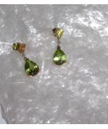 10K YELLOW GOLD GREEN PERIDOT PEAR & DIAMOND DANGLE EARRINGS, 3.75(TCW),... - $112.50