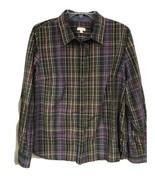 Talbots Womens LARGE Plaid Shirt Blouse 3/4 Sleeve Button Down Cotton Brown - $19.79