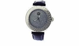 Crown Master Round 100 Diamonds 50mm round Watch stainless steel case bl... - $197.99