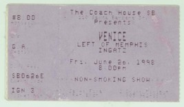 RARE Venice Left of Memphis Ingatz 6/26/98 Santa Barbara CA Concert Tick... - $2.96