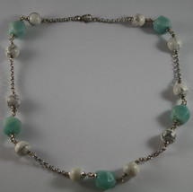 .925 RHODIUM SILVER NECKLACE WITH WHITE HOWLITE AND BLUE QUARTZ image 2