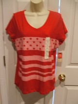 Nwt St. Johns Bay Red Star 100% Cotton Top Size Medium - $12.61