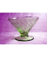 Anchor Hocking Spiral Green Cone Shaped Footed Sherbet - $6.29