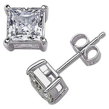 Princess Square Cut CZ Cubic Zirconia 925 Sterling Silver Stud Earrings Crystal - $20.29+
