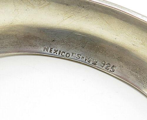 MEXICO 925 Sterling Silver - Vintage Raised Edge Smooth Cuff Bracelet - B4741