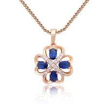 Fancy 10k Rose Gold FN 925 Silver Oval Shape Blue Topaz Women's Pendant & Chain - $43.55