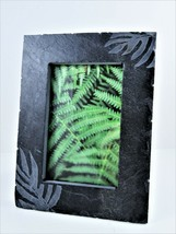 Heavy Gray Cut Slate Picture Frame Etched Jungle Leaf Easel Style For 4X6 Photo - $16.82