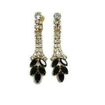 Vintage Gold Tone Black Clear Rhinestones Dangle Clip On Earrings Marquise - $39.59