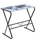 Dorm Room Desk Glass Metal Furniture Lightweight Compact College Room Of... - $94.62