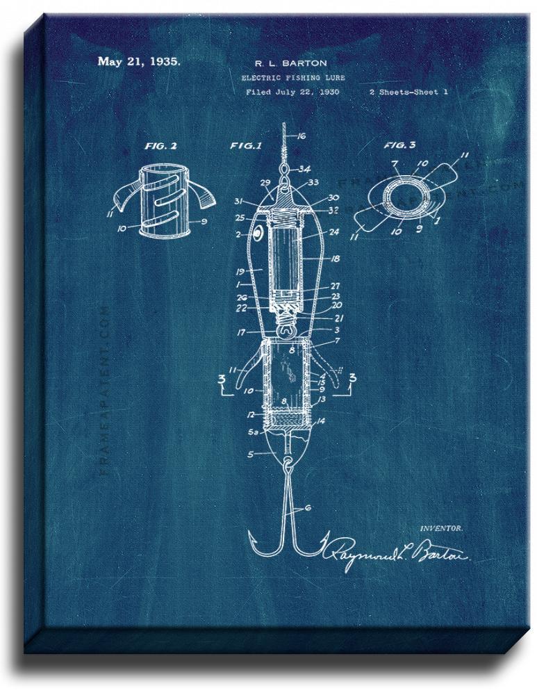 Primary image for Electric Fishing Lure Patent Print Midnight Blue on Canvas