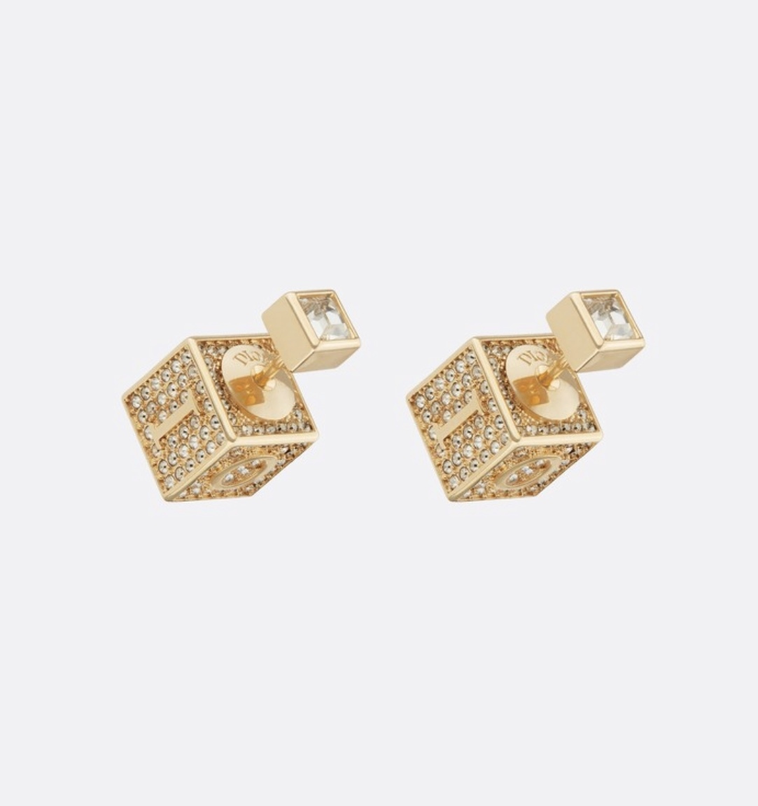 Primary image for AUTH Christian Dior 2019 LUCKY SQUARE TRIBLES EARRINGS CRYSTAL GOLD