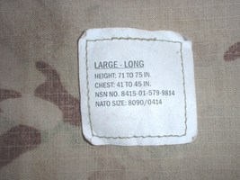 US Army Multicam (TM) camouflage coat size Large-Long, Propper 2010 - $75.00