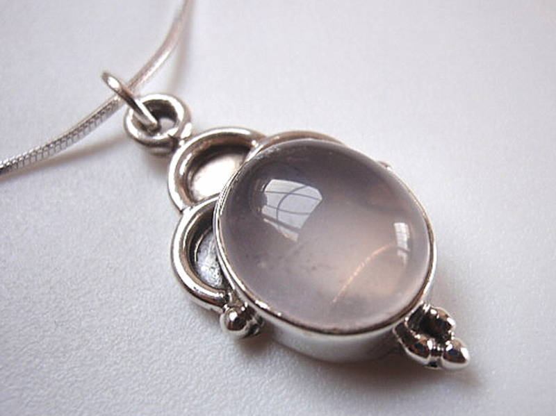 Primary image for Rose Quartz 925 Sterling Silver Necklace Pink New Corona Sun Jewelry