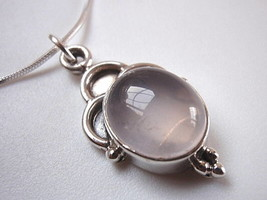 Rose Quartz 925 Sterling Silver Necklace Pink New Corona Sun Jewelry - $18.80