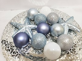 "12 Coastal Blue Silver Beach Starfish Christmas Glitter Ball Ornaments 2.5"" - $24.99"