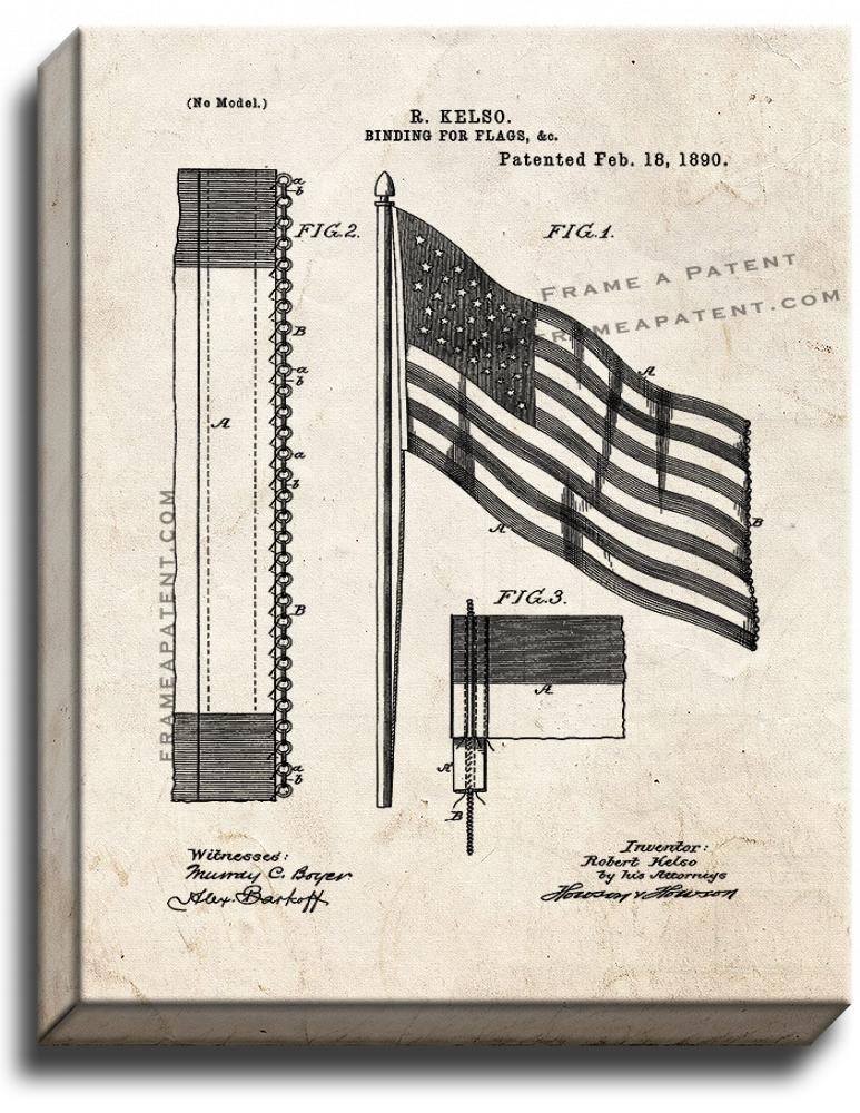 Primary image for Binding For Flags Patent Print Old Look on Canvas
