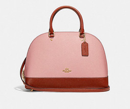 Coach F25898 Sierra Satchel in Colorblock Signature Canvas pink terracot... - $154.44