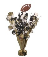 "2 Football motif balloon weights 15"" tall metallic gold and black brown ... - £7.10 GBP"