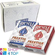 6 DECKS BICYCLE PRESTIGE 100% PLASTIC POKER PLAYING CARDS JUMBO 3 RED 3 ... - $50.68
