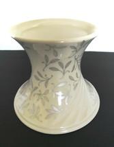 Lenox Pillar Candle Holder Ivory White Silver Leaf Design Wedding Unity ... - $9.99