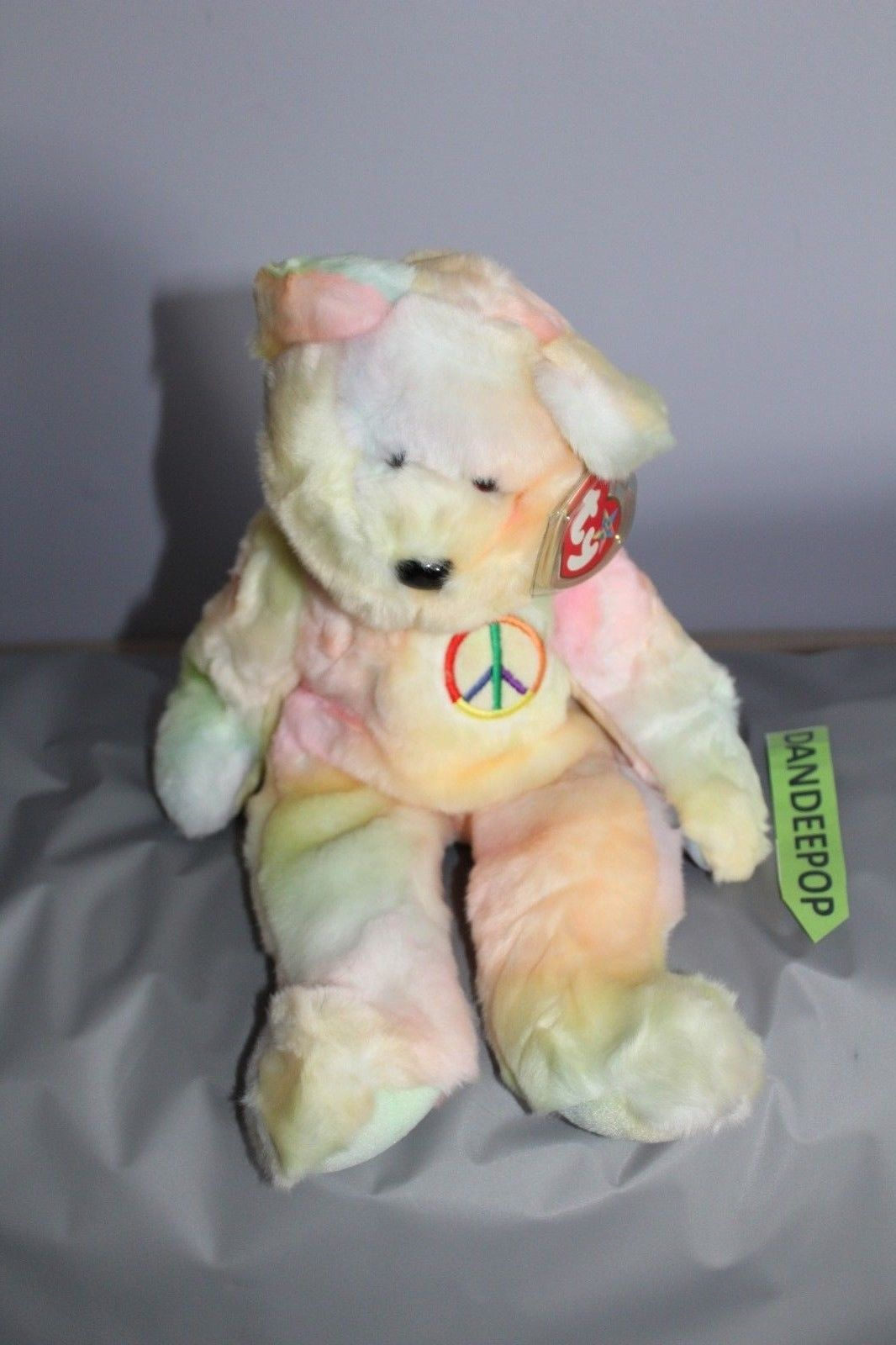 """TY Retired Beanie Buddies Collection 13"""" Large Peace Bear 1999"""