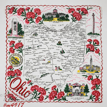 Vintage State Souvenir Hanky for Ohio The Buckeye State (M4917) - $48.00