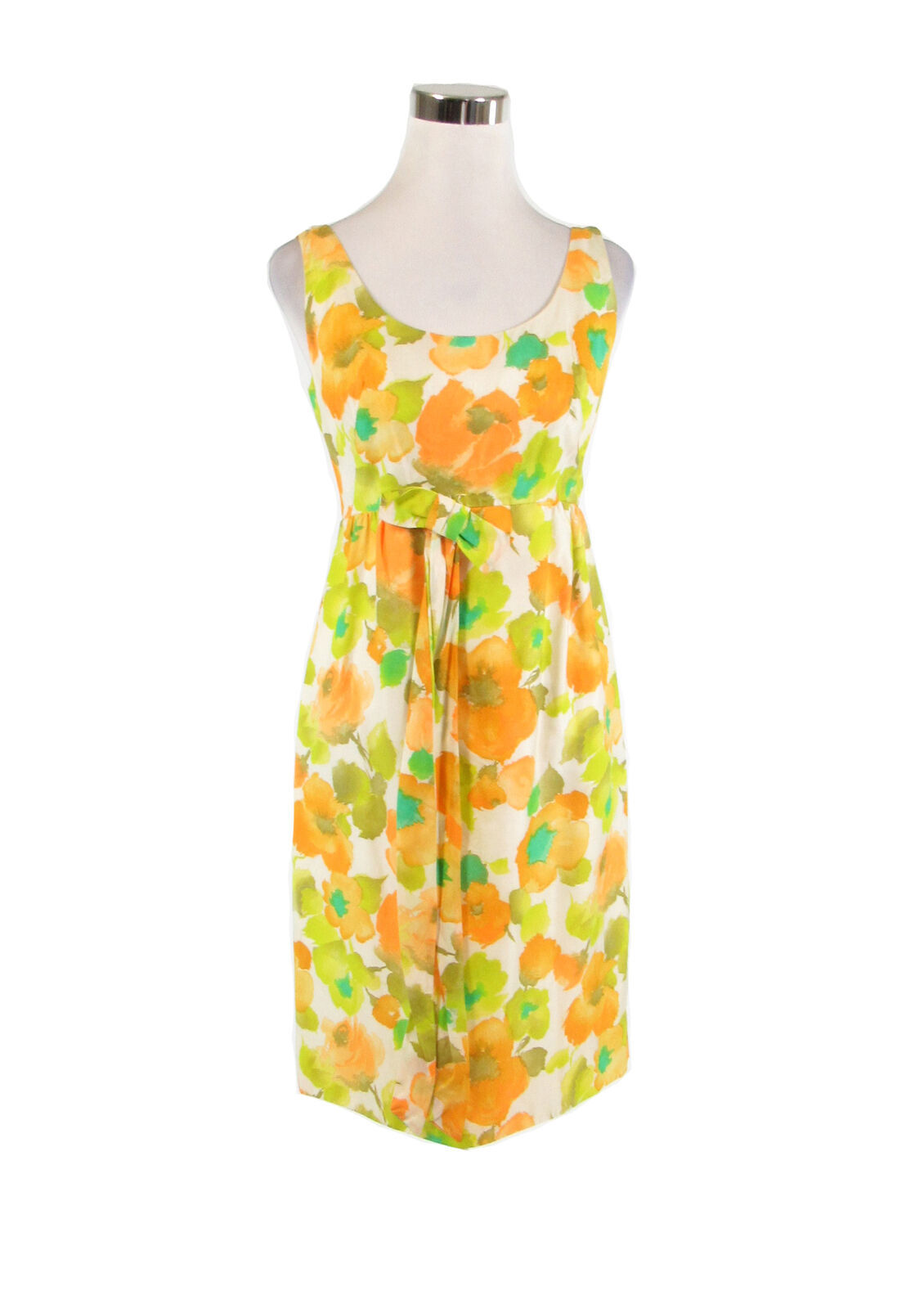 Primary image for Ivory yellow green floral print sleeveless vintage sheath dress S