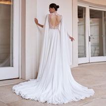 Sexy Open Back Elegant Skirt Slit Beading Lace Floral Chiffon Wedding Dress image 2