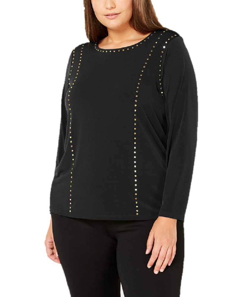 Primary image for Calvin Klein Top Black Long Sleeve Gold Studs Size 2X Plus Stretch $70 NEW LL311