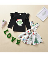 NEW Dr Seuss Grinch Whoville Christmas Suspender Skirt Girls Outfit Set - $10.99
