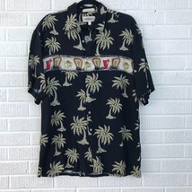 Campia Moda Mens M Hawaiian Aloha Shirt Black Rayon Palm Trees Margarita... - $14.03