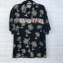 Campia Moda Mens M Hawaiian Aloha Shirt Black Rayon Palm Trees Margarita Drinks - $14.03