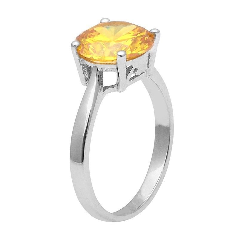 Yellow Cubic Zirconia 925 Sterling Silver Ring Shine Jewelry Size-8 SHRI1421