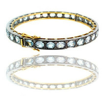 Aquamarine Bangle 14k Gold Diamond Gemstone Sterling Silver Look Antique... - $1,043.95