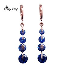 2018 Fashion CZ Crystal Earrings Rose Gold Color Long Drop Earrings for ... - $20.00